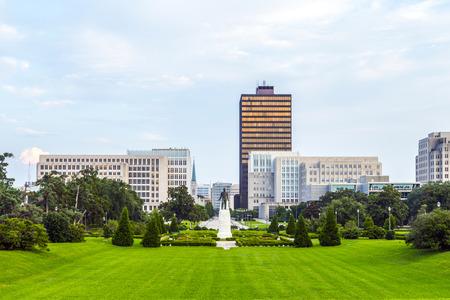 Baton Rouge, Louisiana - skyline with Huey Long Statue
