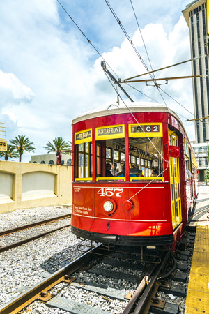 NEW ORLEANS, USA - JULY 15, 2013: One of the many streetcars serving Riverfront streetcar in New Orleans, USA.  It is the oldest continually operating street car line in the world.