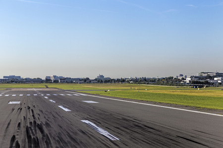 tire marks: touchdown area with tire marks on a runway