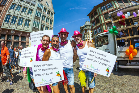 roemer: FRANKFURT, GERMANY - JULY 19, 2014: Christopher Street Day in Frankfurt, Germany. Crowd of people participate in the parade celebrates gays, lesbians and bisexuals.  Parade starts at Roemer place.