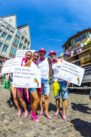 bisexuals: FRANKFURT, GERMANY - JULY 19, 2014: Christopher Street Day in Frankfurt, Germany. Crowd of people participate in the parade celebrates gays, lesbians and bisexuals.  Parade starts at Roemer place.