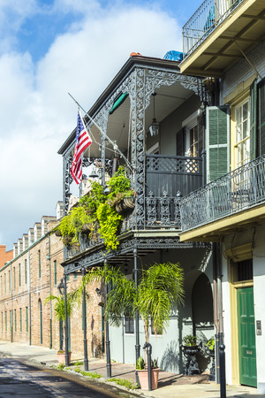 bourbon street: historic building in the French Quarter in New Orleans