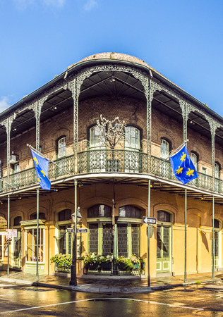 NEW ORLEANS, LOUISIANA USA - JULY 17, 2013: houses in historic building in the French Quarter in New Orleans, USA. Tourism provides a large source of revenue after the 2005 devastation of Hurricane Katrina.
