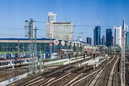 FRANKFURT, GERMANY - MARCH 2, 2013: entrance of central station  in Frankfurt, Germany. With about 350,000 passengers per day the station is the most frequented railway station in Germany.