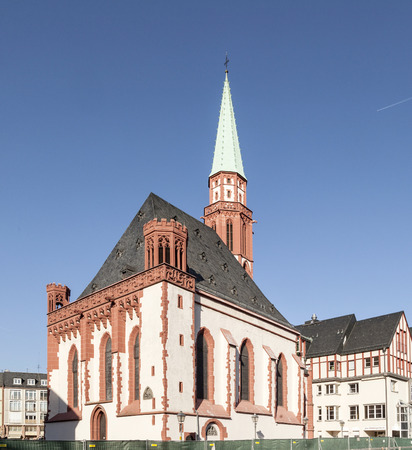 roemer: famous old Nikolai Church in Frankfurt at the central roemer place Stock Photo