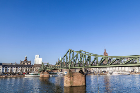 sachsenhausen: The Iron Bridge (so called Eiserner Steg) at Frankfurt Main in the afternoon