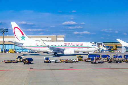 FRANKFURT, GERMANY - June 20, 2013:  Boeing 737 of airline Royal Air maroc in Frankfurt Germany. The new runway opened in APR 2012 and causes a lot of polictical discussion because of heavy noise.