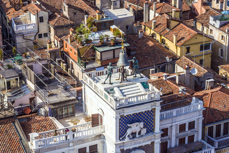 clocktower: view to famous clocktower at San Marco place in Venice Editorial