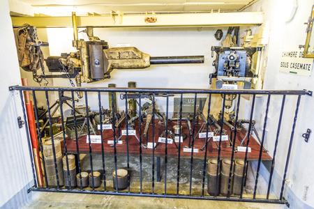 sud: MARCKOLSHEIM, FRANCE - JULY 3, 2013: objects inside the casemate at the Maginot line in Marckolsheim, France. Marckolsheim Sud has been restored and houses the Musee Memorial de la Ligne Maginot du Rhin.