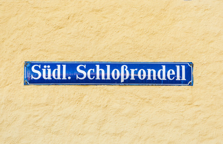 nymphenburg palace: Street sign Suedliches Schlossrondel - southern Castle area - at Nymphenburg Castle, Munich Stock Photo