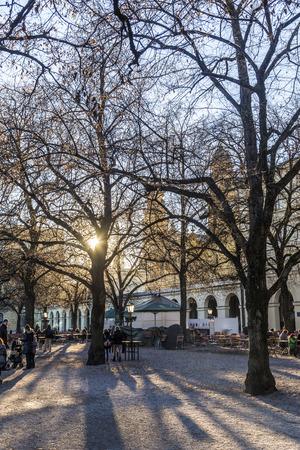 chinook: MONACO DI BAVIERA, GERMANIA - 27 Dicembre 2013: La gente non identificata godersi il vento chinook in un luogo di riposo nel Hofgarten, un famoso parco pubblico di Monaco di Baviera, Baviera, Germania.