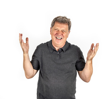 middle age man on a white background. photo
