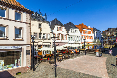 central market: ST. WENDEL, GERMANY - APRIL 23, 2013: old market place in St. Wendel, Germany. The Fruchtmarkt became the central market place in the 15th century.