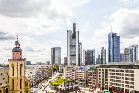 plazas: FRANKFURT, GERMANY - AUG 8, 2014: view to skyline of Frankfurt with Hauptwache on in Frankfurt, Germany. The Hauptwache is a central point and one of the most famous plazas of Frankfurt Editorial