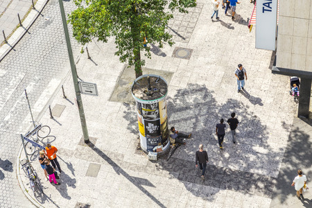 paveway: FRANKFURT, GERMANY-AUGUST 9, 2014 : people walk along the Zeil in Midday  in Frankfurt, Germany. Since the 19th century it is of the most famous and busiest shopping streets in Germany.