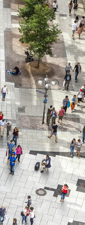paveway: FRANKFURT, GERMANY- AUGUST 9, 2014: People walking along the Zeil street in Frankfurt, Germany. The place is one of the most famous and busiest shopping streets in Germany.