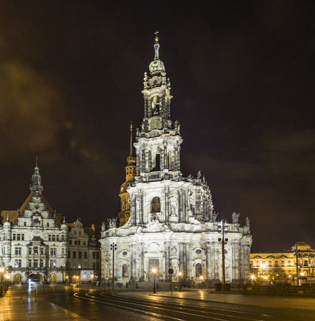 Dresden, Germany at Neumarkt Square and Frauenkirche at night. photo