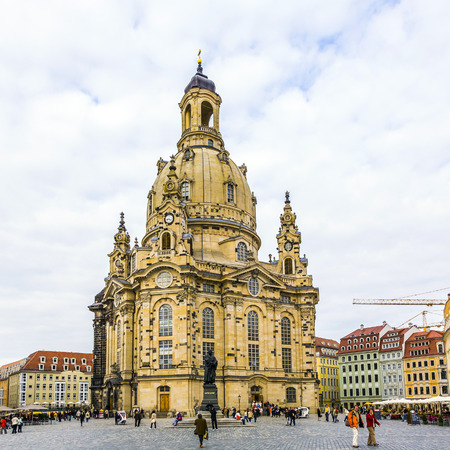 DRESDEN, GERMANY - SEP 17, 2008: View of Frauenkirche in Dresden, Germany. Rebuilt after the second world war, the cathedral is now one of the most visited monuments in Dresden.