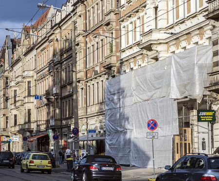 19th century: DRESDEN, GERMANY - SEP 17, 2008: View of street with old classical facades in Dresden, Germany. The Koenigsbruecker Street is famous for old facades from 19th century. Editorial