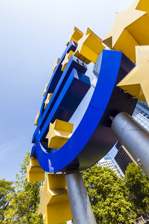 ecb: FRANKFURT, GERMANY - MAY 16, 2014: Euro Sign. European Central Bank (ECB) is the central bank for the euro and administers the monetary policy of the Eurozone in Frankfurt, Germany. Editorial