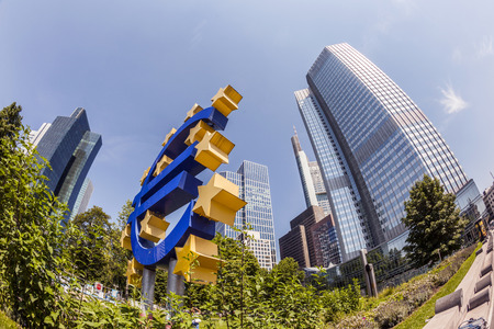 eurozone: FRANKFURT, GERMANY - MAY 16, 2014: Euro Sign. European Central Bank (ECB) is the central bank for the euro and administers the monetary policy of the Eurozone in Frankfurt, Germany. Editorial