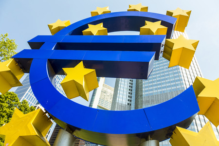 monetary policy: FRANKFURT, GERMANY - MAY 16, 2014: Euro Sign. European Central Bank (ECB) is the central bank for the euro and administers the monetary policy of the Eurozone in Frankfurt, Germany. Editorial