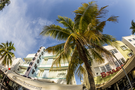 artdeco: MIAMI, USA - AUG 20, 2014: The Colony hotel located at 736 Ocean Drive and built in the 1930s is the most photographed hotel in South Beach in Miami, USA.