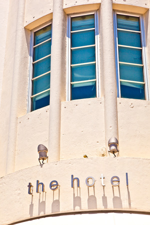 MIAMI BEACH, USA - JULY 27: hotel facade at Ocean drive on July 27, 2010 in Miami Beach, Florida. Art Deco architecture in South Beach is one of the main tourist attractions in Miami.