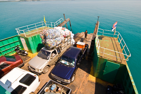 KOH CHANG; THAILAND - JANUARY 7: ferry with loading platform and cars on January 7, 2008 in Koh Chang, Thailand. Ko Chang is Thailand second largest island, and the biggest in Eastern Thailand.