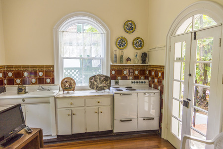 KEY WEST, USA - AUG 27, 2014: kitchen of Ernest Hemingway house in Key West, USA. Ernest Hemingway lived and wrote here from 1931 to 1939.