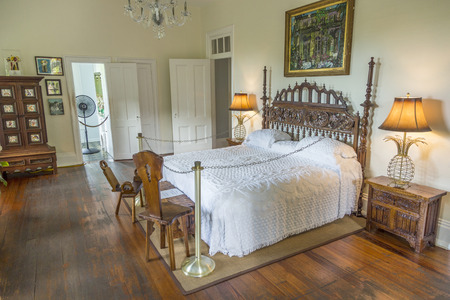 KEY WEST, USA - AUG 27, 2014: sleeping room of Ernest Hemingway in Key West, USA. Ernest Hemingway lived and wrote here from 1931 to 1939.