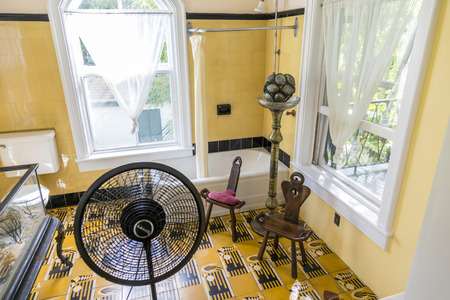 KEY WEST, USA - AUG 27, 2014: bath room of Ernest Hemingway in Key West, USA. Ernest Hemingway lived and wrote here from 1931 to 1939.