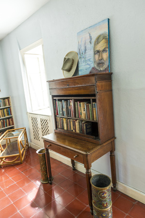 lived here: KEY WEST, USA - AUG 27, 2014: working room of Ernest Hemmingway in Key West, USA. Ernest Hemingway lived and wrote here from 1931 to 1939.