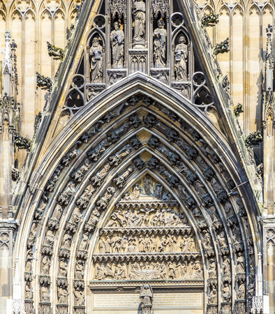 main gate: decoration elements at the main gate of the dome in Cologne, Germany Stock Photo