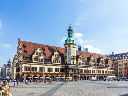 LEIPZIG, GERMANY - AUGUST 24, 2013: people at  old Town Hall in Leipzig, Germany. Leipzig is the largest city in Saxony. 報道画像