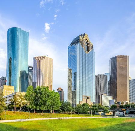 昼間、テキサス州ヒューストンのスカイライン 写真素材