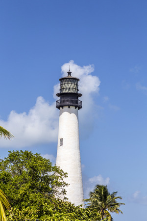 Famous lighthouse at Cape Florida in the south end of Key Biscayne , Miami photo