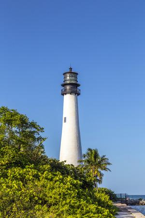 key biscane: Faro famoso en el Cabo de la Florida en el extremo sur de Key Biscayne, Miami Foto de archivo