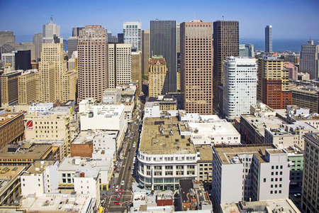 SAN FRANCISCO, USA - JULY 24, 2008: view from the rooftop to the city of San Francisco in San Francisco, USA. It is the forth biggest city in California with a population of  805 Tsd (2010).