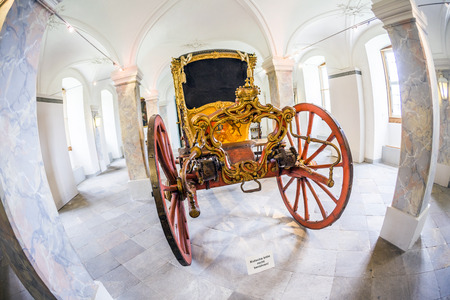 FULDA, GERMANY - SEP 21, 2014:  carriage at the castle Fasanerie in Fulda, Germany. The golden carriage was used coach was used only for parades. Editorial