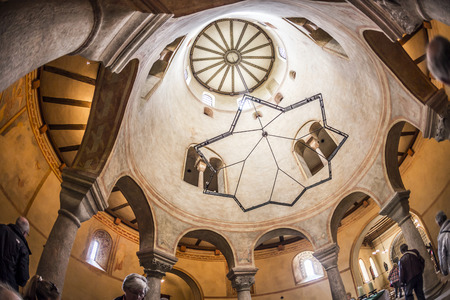 church of the holy sepulchre: FULDA, GERMANY - SEP 20, 2014: people visit St. Michaels Church in Fulda, Germany. It is considered to be the oldest Holy Sepulchre church in Germany, built in the Carolingian architectural style.
