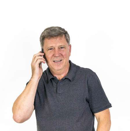 Portrait Of Happy Man using On Cell Phone photo
