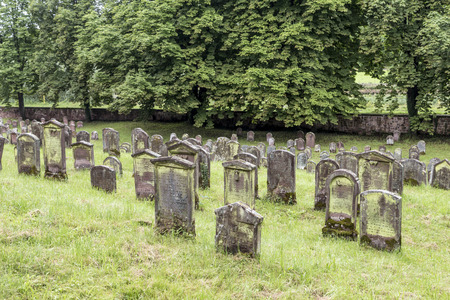EMMENDINGEN, GERMANY - JULY 4, 2013: famous old jewish cenetery in Emmendingen, Germany. The cemetery was closed in 1902 and 204 gravestones still exist. Editorial