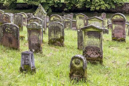 hebraism: EMMENDINGEN, GERMANY - JULY 4, 2013: famous old jewish cenetery in Emmendingen, Germany. The cemetery was closed in 1902 and 204 gravestones still exist. Editorial