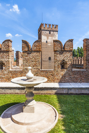 probable: VERONA, ITALY - AUG 5, 2009: famous Castelveggio in Verona, Italy. The castle stands on the probable location of a Roman fortress outside the Roman city and was built in 1354.