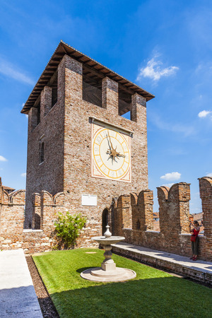 probable: VERONA, ITALY - AUG 5, 2009: people visit Castelveggio in Verona, Italy. The castle stands on the probable location of a Roman fortress outside the Roman city and was built in 1354.