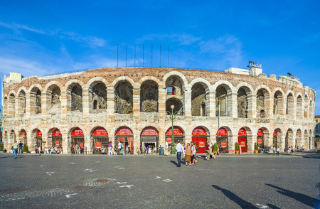 VERONA, ITALY  - AUG 5: visitors at the arena di verona on  Aug 5, 2009 in Verona, Italy.  The Arena was built by the Romans in the 1st century AD, in the Augustan period.