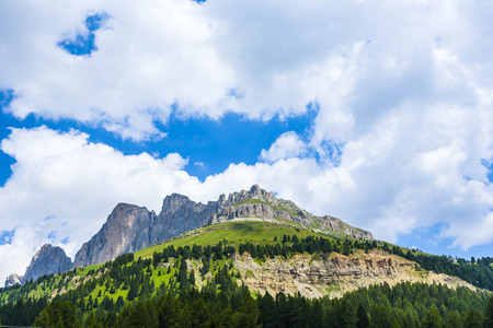 view to the Karer pass in the dolomite alpes photo