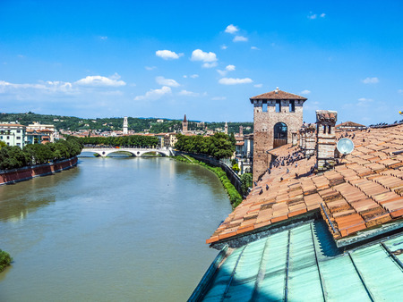 old bridge in Verona over Adige river - Castelvecchio photo