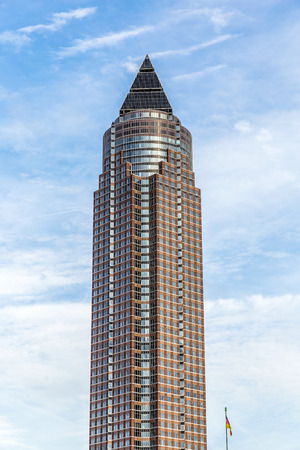 FRANKFURT, GERMANY - OCT 12, 2014: the Messeturm, German headquarters of the investment bank Goldman Sachs in Frankfurt, Germany.